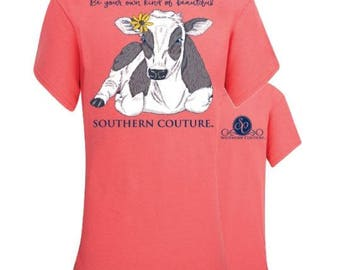 Fast Shipping - Southern Couture - Be your own kind of beautiful- cow with flower - can be monogrammed