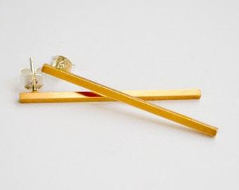 Long Gold Bars - Gold Minimalist Drop Earrings - Simple Long Square Bar Studs - Gold Dangle Ear Bar - Brutalist Line Studs - Hook and Matter