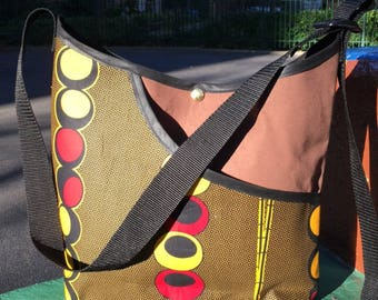 Brown and Gold African Wax Cloth Print Market Tote Bag, Cross Body Messenger Bag, Travel Bag