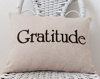 Gratitude Pillow WITH INSERT Rustic Inspirational Pillow. Word Pillow Choose your  Fabric Color.