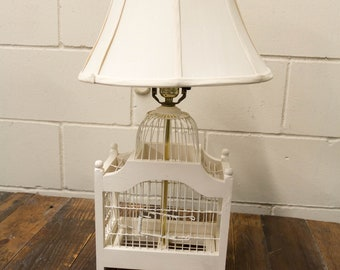Rustic Vintage Bird Cage Lamp Cottage Working Condition