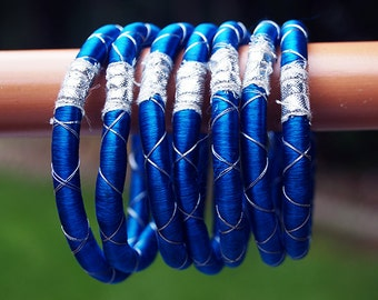Tribal cloth ink blue and silver bangle set of 2