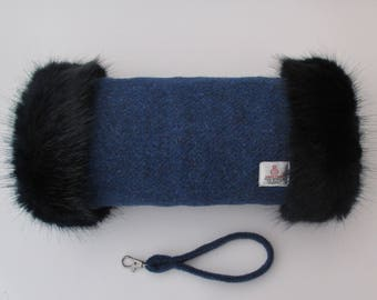 Harris Tweed Windsor Blue Hand Muff with Navy Faux Fur Trim