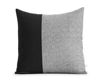 20x20 Black Chambray Colorblock Pillow Cover - Modern Home Decor by JillianReneDecor - Scandinavian Inspired - Black and White Pillows