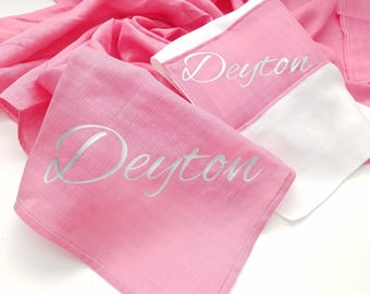 """Personalized Double Gauze AKA- Muslin Baby Blanket Hot Pink Perfect for Swaddle, Baby Shower Gift and Everyday 46"""" X 46"""""""