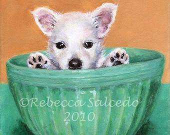 Giclee Print Dog Portrait chien Westie Teal Fiesta Bowl par Rebecca Salcedo Ffaw