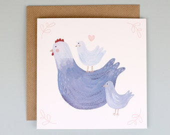 Mother Hen Hand Illustrated Mother's Day Card