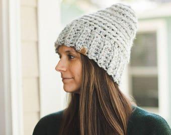 Chunky Crochet Beanie--Gray