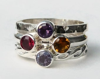 Mothers Ring -  3  Birthstone Stacking Rings with 4 Faceted Gemstones -  Family Ring - Sterling Silver - peridot amethyst blue topaz