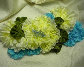 Cream Aqua Ribbon Flower Millinery Applique