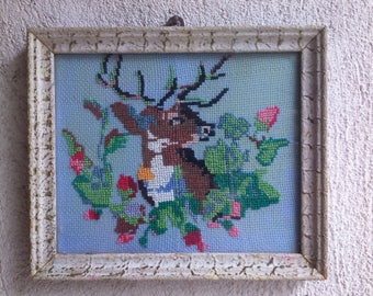 Deer Fabric Picture Embroidery Picture Vintage Embroidery Picture Animals Sciene Embroidery Vintage Embroidery Deer Picture Deer Embroidery