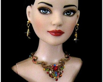 """Doll jewelry for Tonner American Model, BJD,  and other 22"""" fashion dolls by SohoDolls, Multi Rhinestone necklace and earrings"""