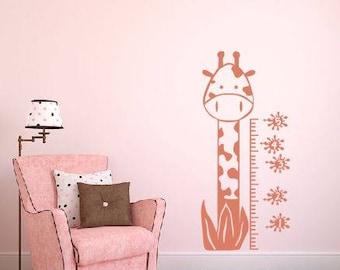 Giraffe wall decal growth chart