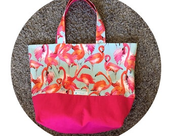 Large flamingo and pink fabric tote bag