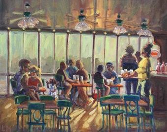 Fish Fry, oil painting, seaside, bar, figurative