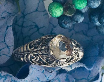 Art Deco Vintage Ring by Jenna Nicole Sterling Silver Quartz Sz 9.5 Filigree Setting Romantic Gift for Her Promise Ring