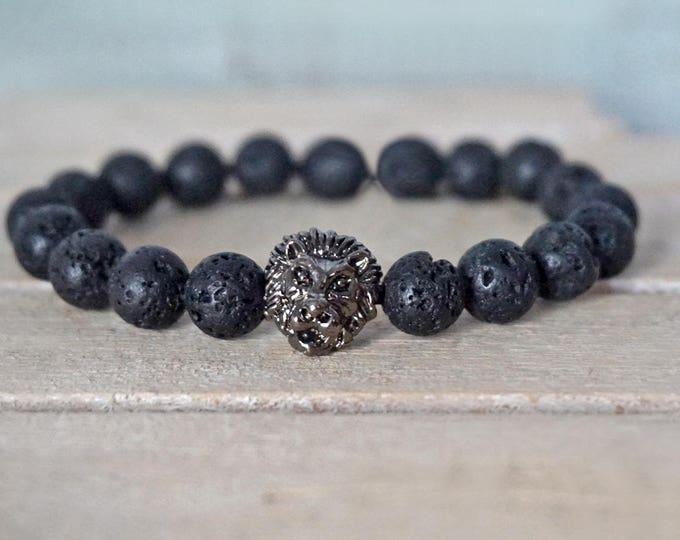 """Featured listing image: Bracelet """"Black Lion""""-17 cm, 19 cm, 21 cm-Silver/Uni"""