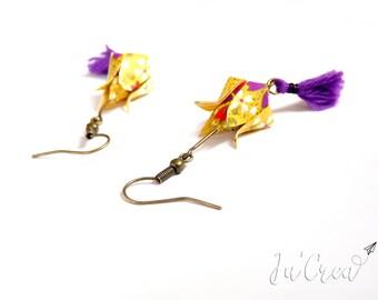 Yellow lotus flower Origami earrings