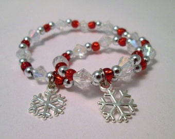 """Snowflake little girl and doll jewelry matching Christmas bracelets 18""""doll accessory"""