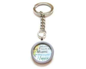Miami Florida Map Pendant Keychain