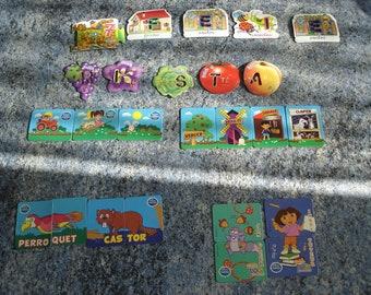 SET of 25 MAGNETS MAGNETS (letters, dora the Explorer, animals, farm, fruit)