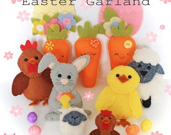 Easter garland PDF sewing pattern, sew your own, diy, tutorial, instant download, garland, bunting, decorations, twiggy tree, easter gift,