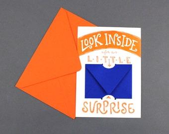 Look Inside for a Little Surprise - Letterpress Gift Card or Money Holder