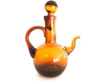 Vintage Hand Blown Amber Glass Cruet - Oil or Vinegar or Soy Sauce Stopper Bottle