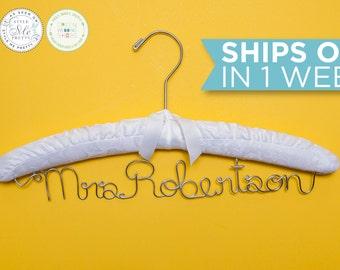 SALE Padded Wedding Hanger / Personalized Bridal Hanger / Padded Name hanger / Bride Hanger / Name Hanger / White Padded Hanger / 14 Colors