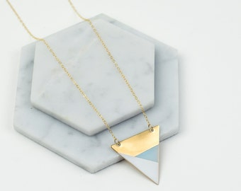 Metal Triangle Necklace (Blue - White - Bronze) - Modern Geometric Jewellery
