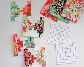 Tiny Courthouse Steps FPP Quilt Block PDF Pattern