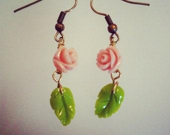 Rose and leaf drop earrings