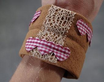 Fabric Bracelet, red and white heart ribon. flexible metal frame