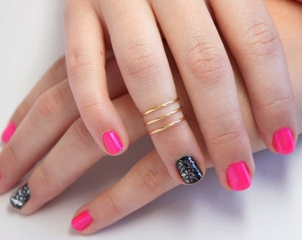 Triple Band Knuckle Ring, Stacking Knuckle Rings, Adjustable Knuckle Rings, Stacking Rings