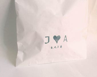 WEDDING cake bags, wedding favour bags, love stamp, wedding bags, thank you bags, custom initial FAVOUR BAGS x 20
