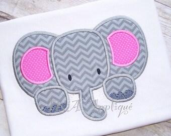 Ellie Elephant Applique Embroidery Design