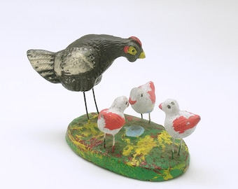 Vintage Miniatures Hen Chicks Germany Putz