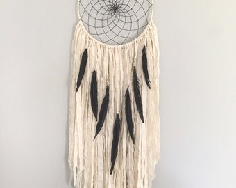 Large Dream Catcher - Large White Dream Catcher with Black Pheasant Feathers