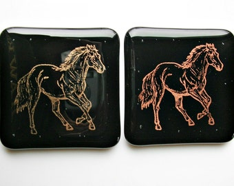 Running Horse Fused Glass Coasters Set of Two Glass Coasters Fused Glass Art Equestrian Decor