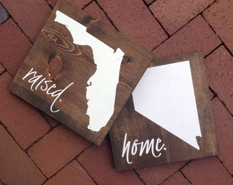 SET State Raised, Home State Wood Sign, State Sign, Wood State, State Pride, Hand Painted Rustic Home Decor, Wall Art