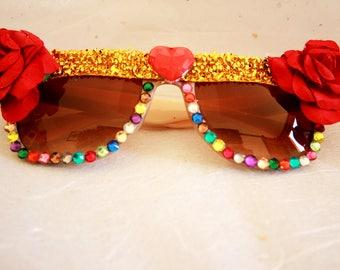 Festival flower sunglasses. Fancy dress embellished sunglasses
