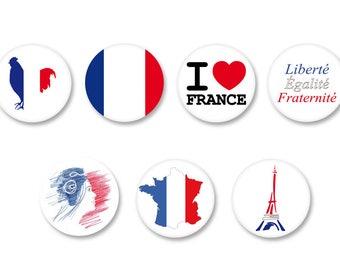 Lot Pins Ø25mm - o38mm Pinback Button Badge / Magnet o38mm symbol patriotic French en France