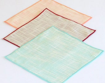 Linen look pocket squares; Linenetto pocket squares, pink, blue, red, and many more