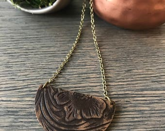 Stamped Leather Necklace