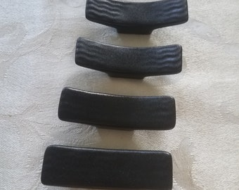 Set of 4 Chopstick Rest black ceramic rests