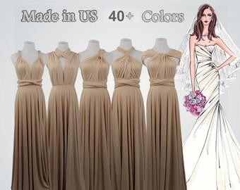 Long bridesmaid dress infinity bridesmaid dress Champange long infinity dress bridesmaid convertible wrap dress, prom dress