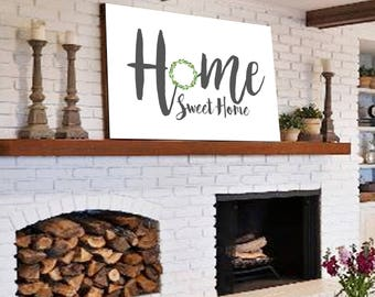 HOME SWEET HOME Fixer Upper Decor Home Decor Gift For Her Fixer Upper Wreath Sign Family Name Sign Rustic Family Sign Canvas Farmhouse Decor