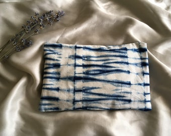 Shibori Lavender Flax Seed Eye Pillow with Removable Cover