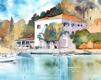 Watercolour print ' The Durrell's White House Kalami Corfu Greece size A3 (16.5 in x 11.7in.)