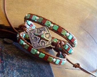 Sterling Silver Santa Fe Cross Bracelet, Southwestern Turquoise Jasper Bracelet, Western Leather Wrap Bracelet, Gift by Ranch Lady Jewelry
